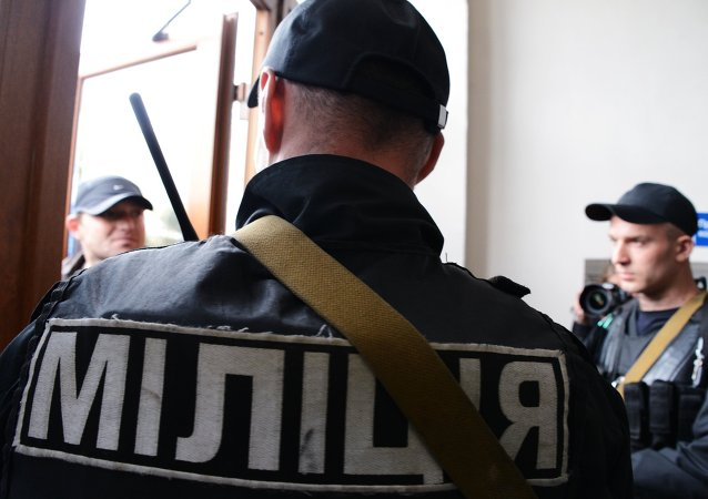 Police officers of the Ukrainian Interior Ministry