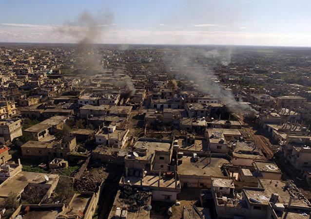Město Šejch-Miskin osvobozené od teroristů IS v syrské provincii Dar'á