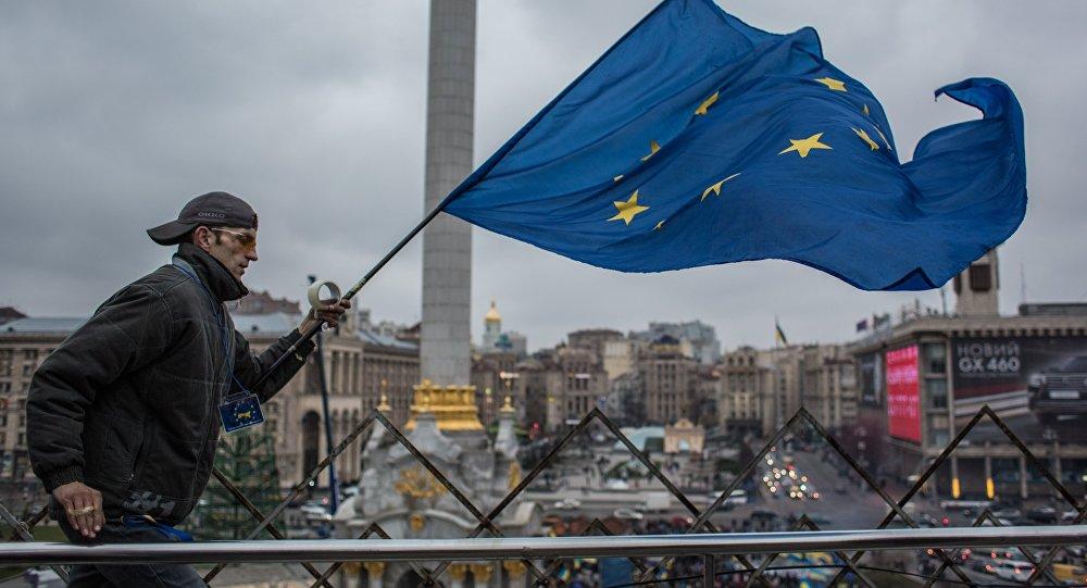 Vlajka EU v Kyjevě