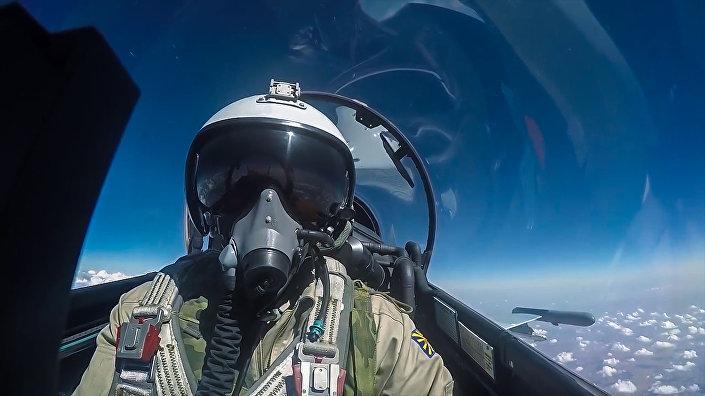 Ruský letec během bojového letu
