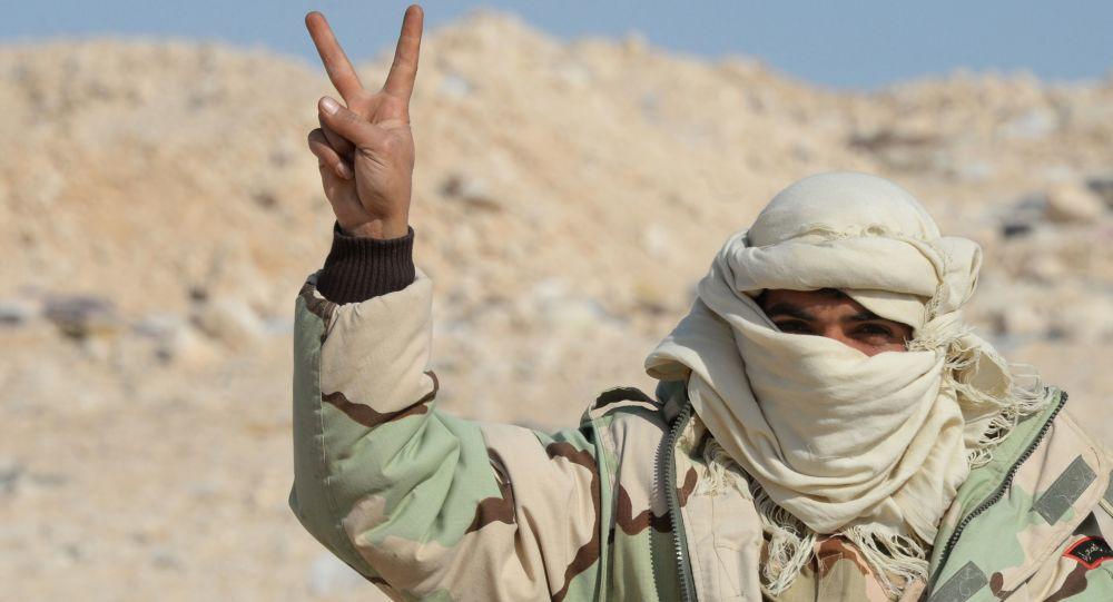Voják oddílu syrské domobrany Sokolové pouště v Palmýře