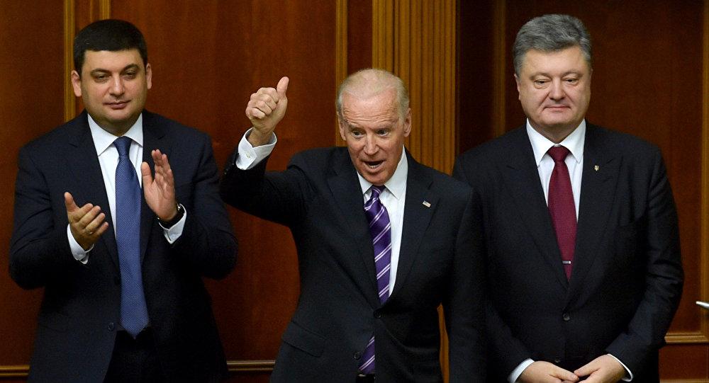 Volodymyr Hrojsman, Josef Biden a Petro Porošenko