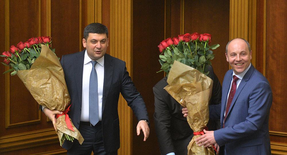 Volodymyr Hrojsman a Andrij Parubij