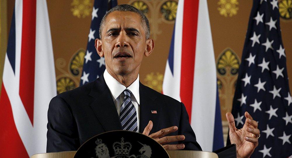 Barack Obama během vystoupení v Londýně