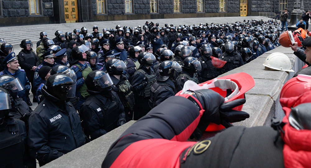 Protestní akce horníků