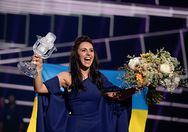 Ukrajinská zpěvačka Jamala během Eurovize 2016