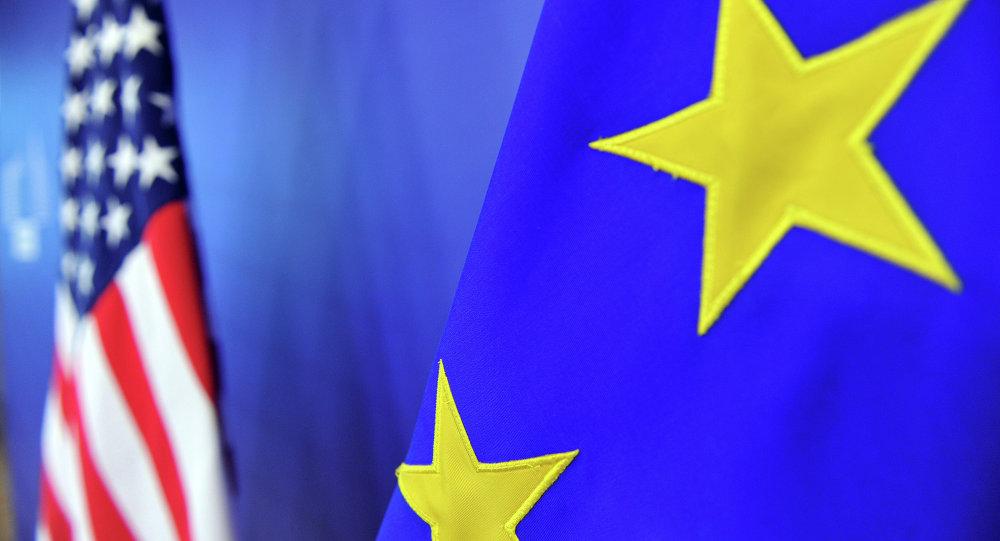 Vlajka USA a vlajka EU