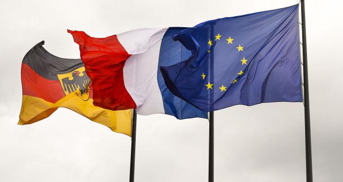 Vlajky Německa, Francie a EU