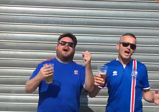 Islandští fanoušci zpívají rusky. VIDEO