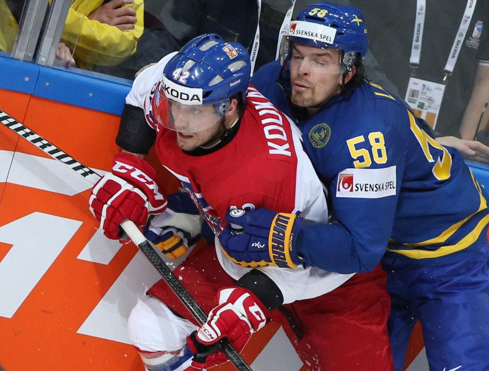 Petr Koukal a Anton Lander během utkání Česka a Švédska