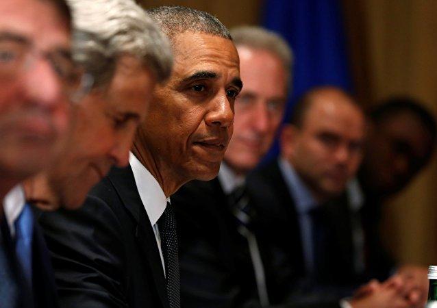 Barack Obama během summitu NATO ve Varšavě