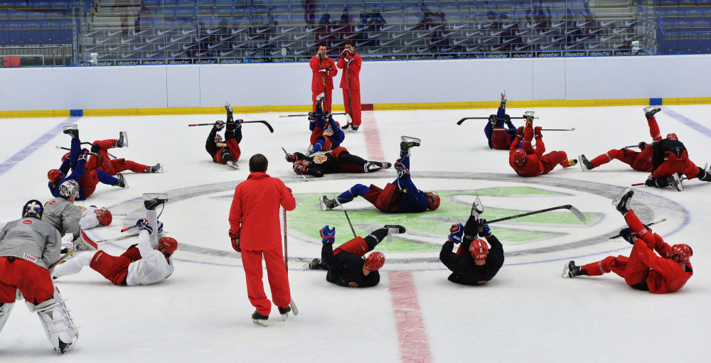MS v hokeji 2015: trénování ruského mužstva