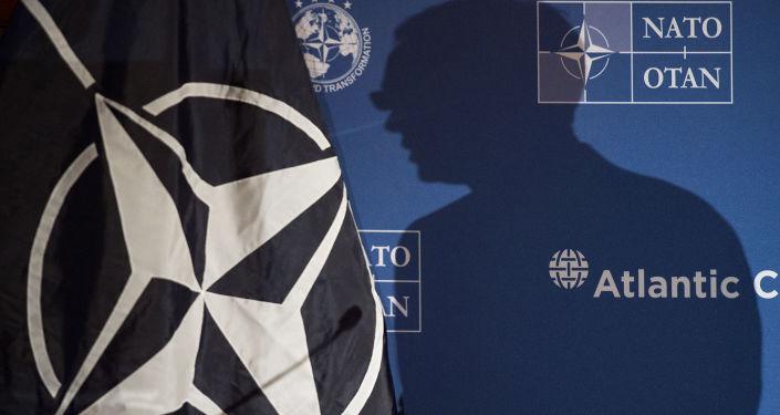 Тень генсека НАТО Йенса Столтенберга на логотипе НАТО