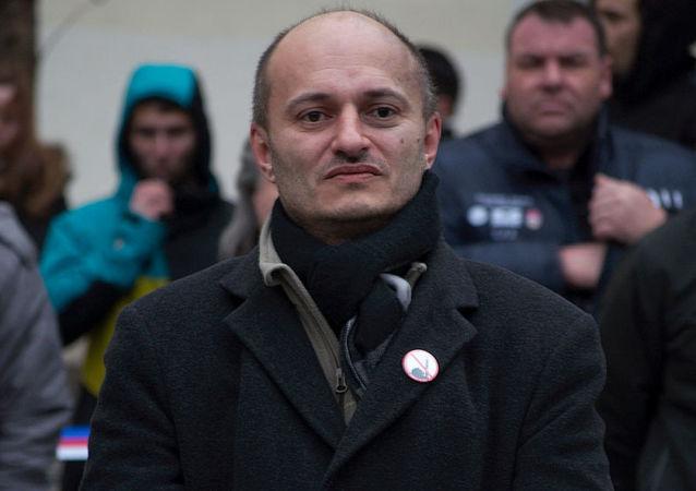 Martin Konvička na protestní akci