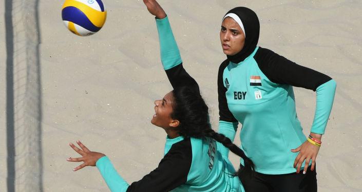 Egyptská reprezentace v ženském plážovém volejbalu během Olympiády v Riu