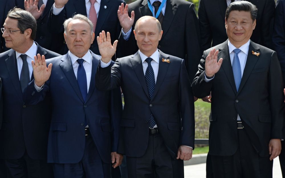 Světoví lídři během oslav Dne Vítězství v Moskvě