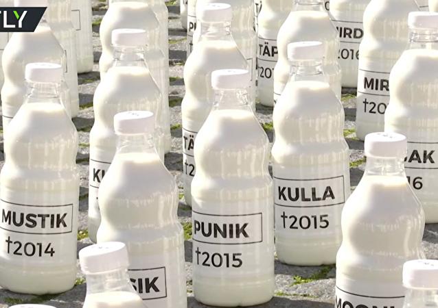 Estonští farmáři vystavili 10 tisíc láhví s mlékem před budovu parlamentu