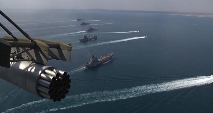 Lodě Černomořské a Kaspické flotily v rámci cvičení Kavkaz 2016