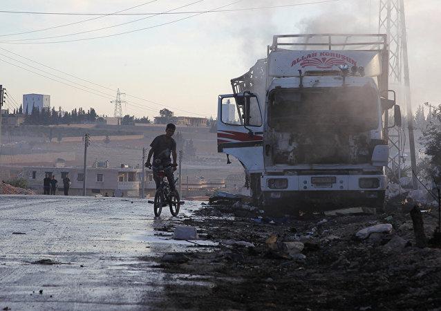 Společný konvoj Mezinárodního výboru Červeného kříže a humanitárních organizací OSN po ostřelování v Sýrii