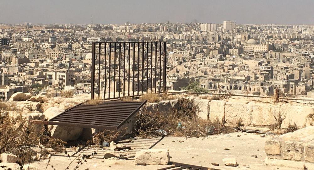 Pohled z Citadely Aleppa na východní části města pod kontrolou teroristů