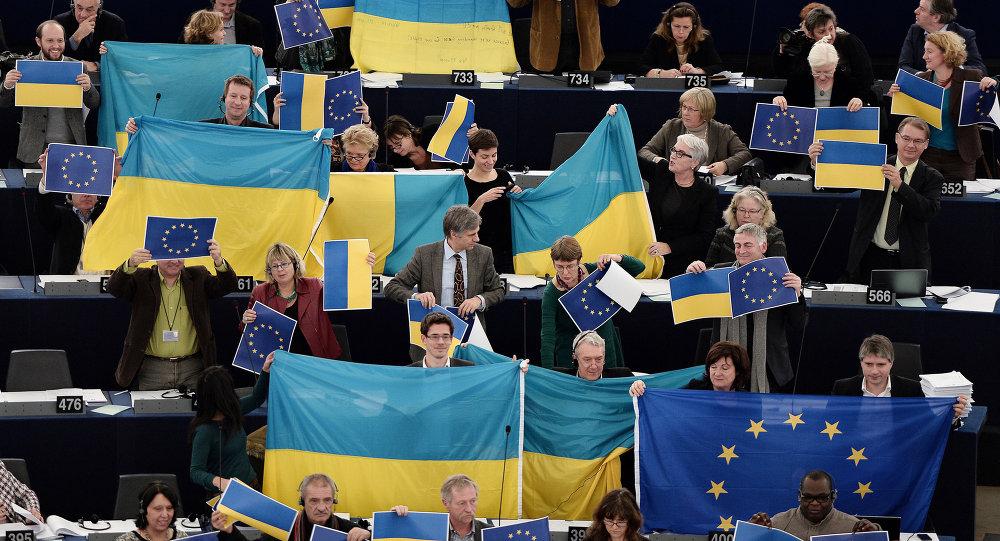 Vlajky EU v Evropském parlamentu