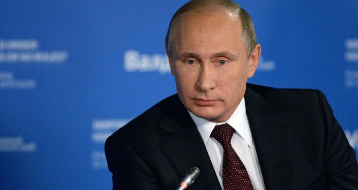 Vladimir Putin na zasedání diskuzního klubu Valdaj. Ilustrační foto