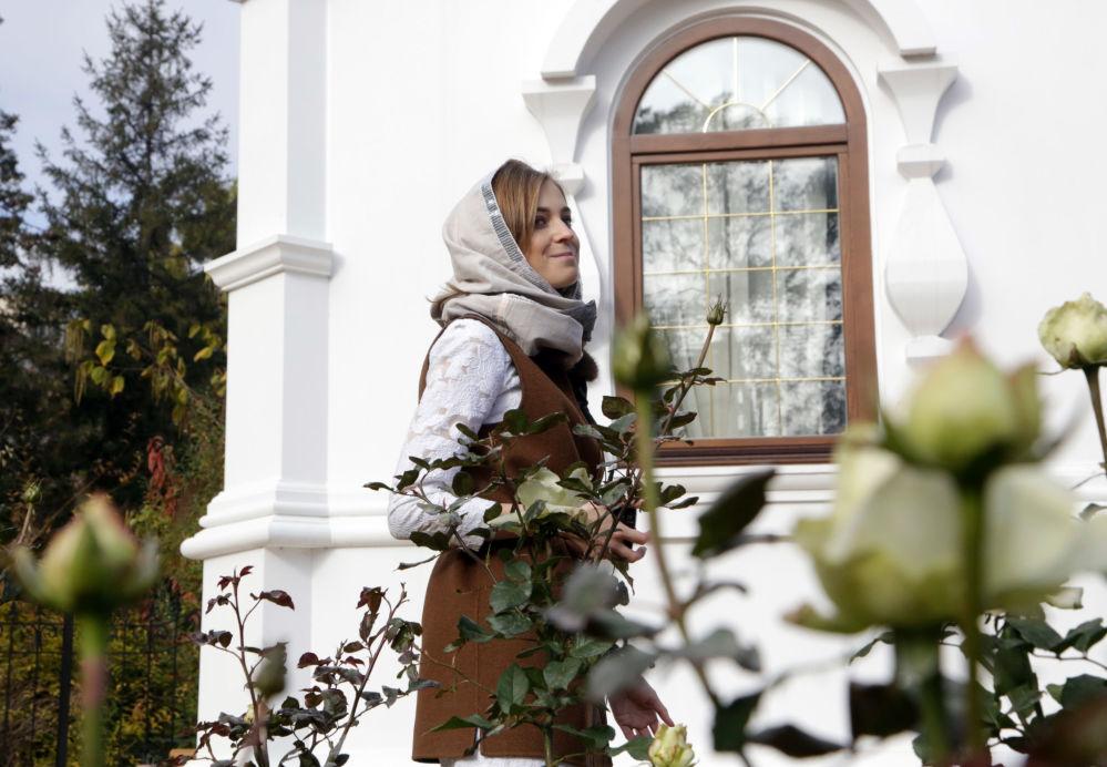Poslankyně Státní dumy RF Natalja Poklonskaja na otevření kaple na počest svatých mučedníků Mikuláše Druhého s rodinou