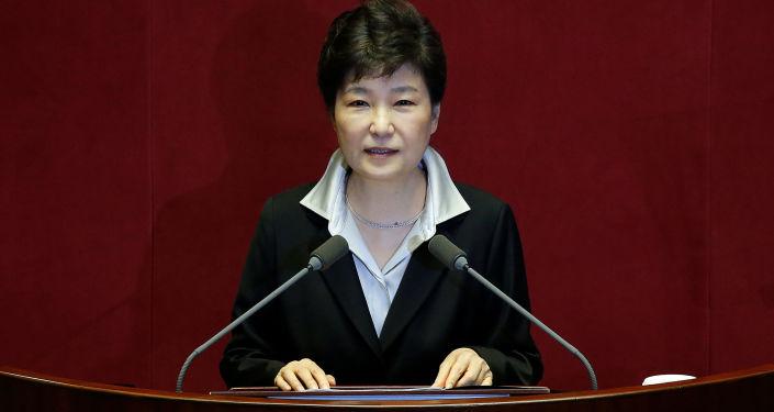 Prezidentka Jižní Koreji Pak Kun-hje během vystoupení v Soulu