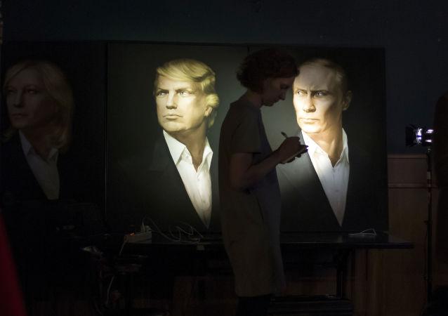 Portréty Donalda Trumpa a Vladimira Putina