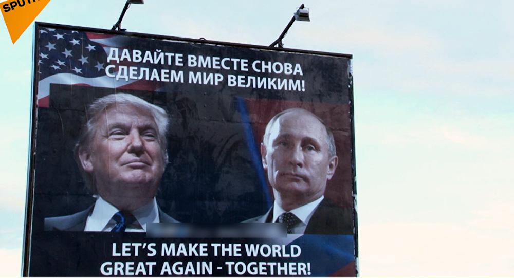 V Černé Hoře se objevil reklamní poutač se zobrazením Putina a Trumpa
