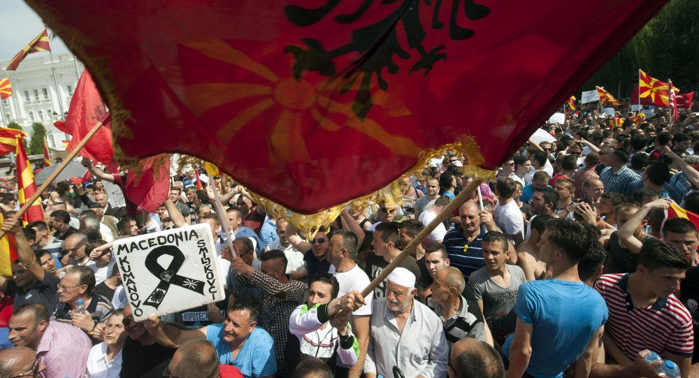 Protestní akce v Makedonii