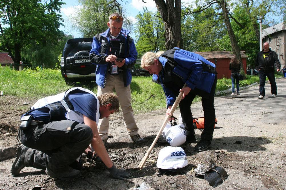 Následky nočního ostřelování Doněcka