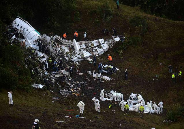 Místo havárie letadla s fotbalisty z klubu Chapecoense