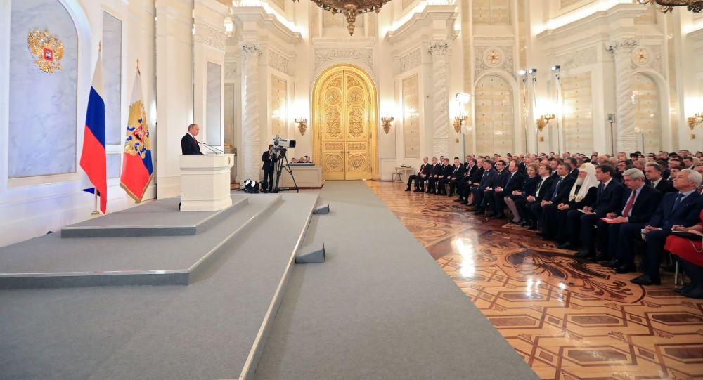 Vladimír Putin v projevu k Federálnímu shromáždění.