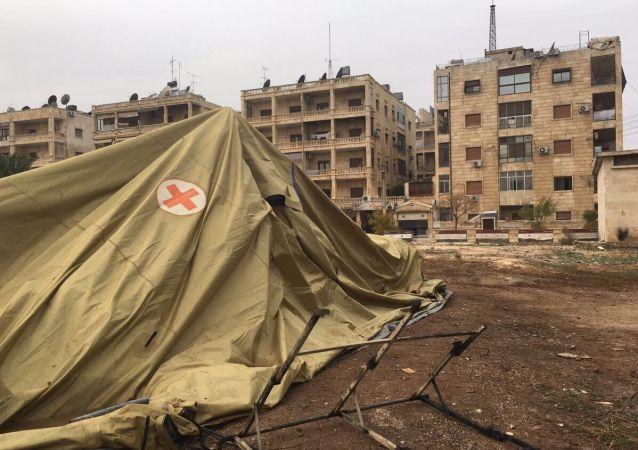 Pozůstatky ruské nemocnice v Aleppu