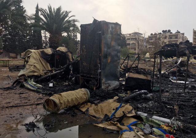 Ruský špitál v Aleppu po ostřelování