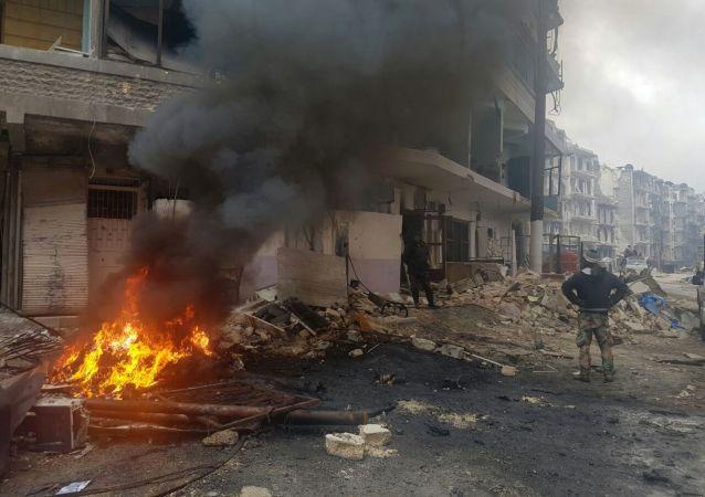 Požár v Aleppu