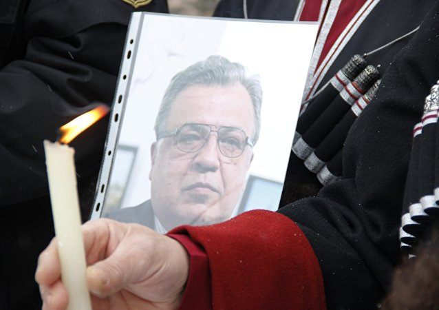 Pietní akce na počest Andreje Karlova v Simferopolu