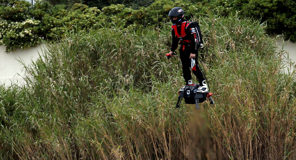 Jet ski champion Franky Zapata breaks the Guiness World Records of the farthest flight by hoverboard with the IPU Flyboard Air after covering a distance of 2,252 meters with an average speed of 50-60km/h in southern France