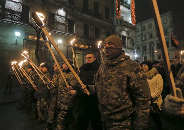 Průvod ukrajinských nacionalistů v Kyjevě. Ilustrační foto