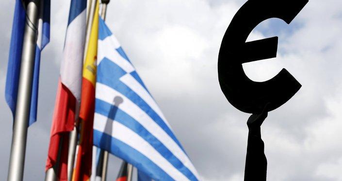 Řecká vlajka a vlajky EU