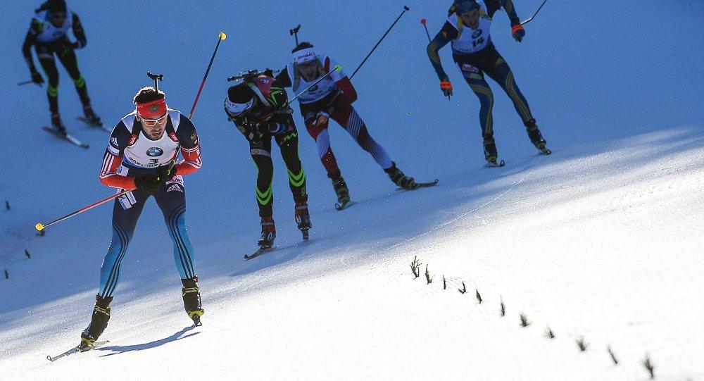 Ruský biatlonista Anton Šipulin. Ilustrační foto