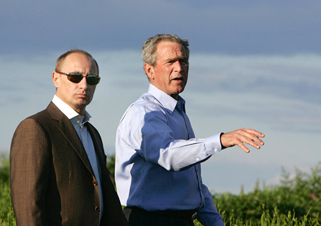 Vladimir Putin a George Bush