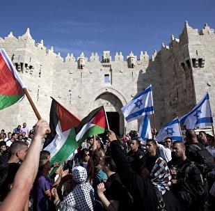 Izraelské a palestinské vlajky