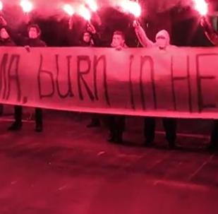 """""""Obamo, smaž se v pekle"""" - protestní akce u amerického velvyslanectví v Moskvě"""