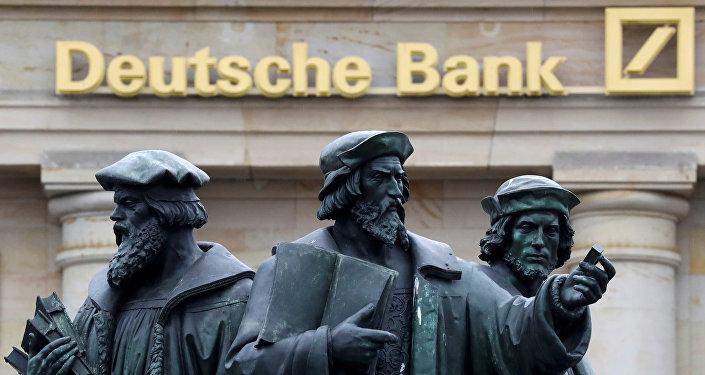 Logo Deutsche Bank ve Frankfurtu