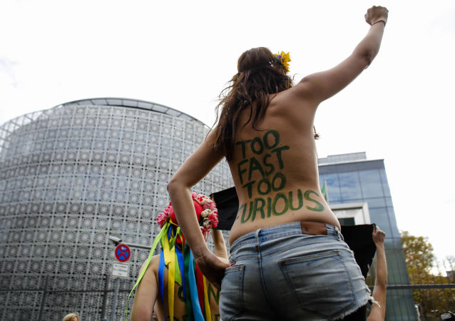 Aktivistky Femen během akce v Berlíně