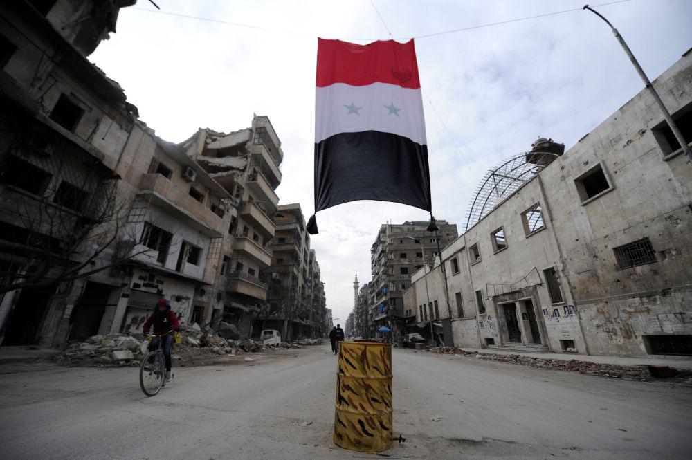 Syrská vlajka ve zničené čtvrti Aleppa