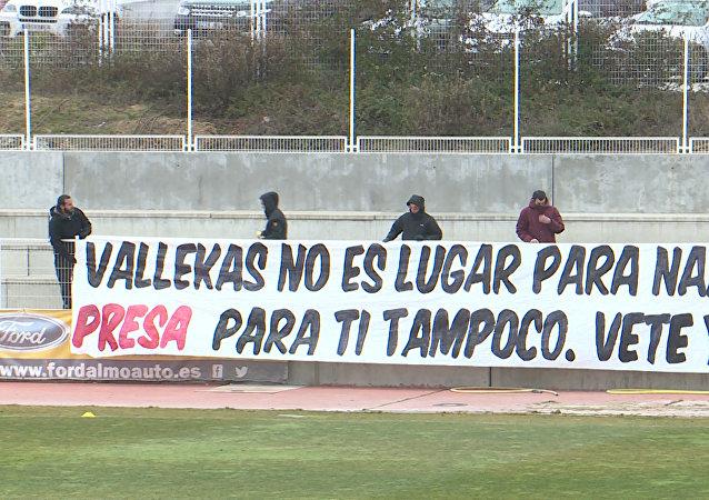 Protestní akce  fanoušků madridského týmu Rayo Vallecano