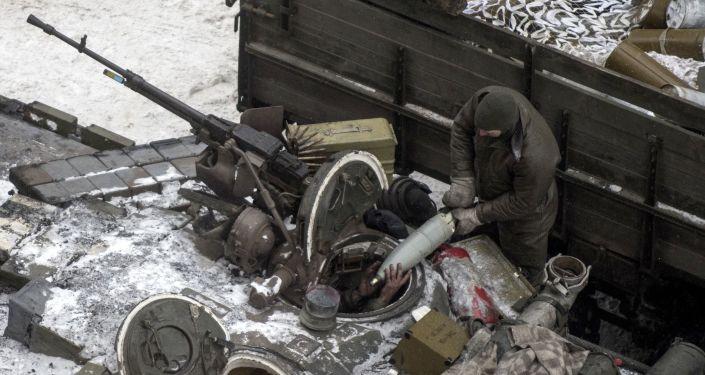 Ukrajinský voják v Avdějevce